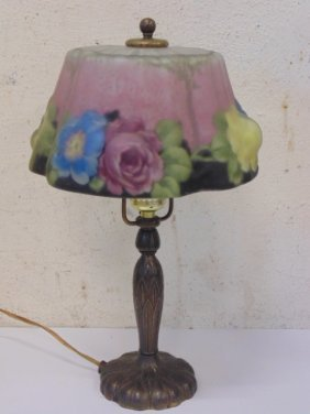 Small Pairpoint Lamp With Painted Puffy Shade