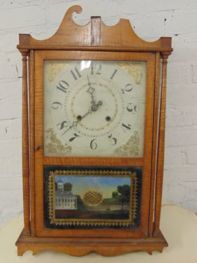 Early Tiger Maple Pillar & Scroll Mantle Clock