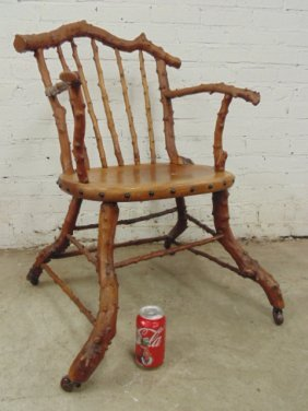 Adirondack Twig Arm Chair, Rustic Form