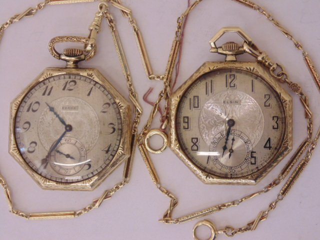 Two 14K gold deco Elgin pocket watches