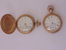 2 Gold Plated Elgin Pocket Watches,