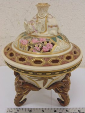 Royal Worcester Incense Bowl With Lid, Elephant