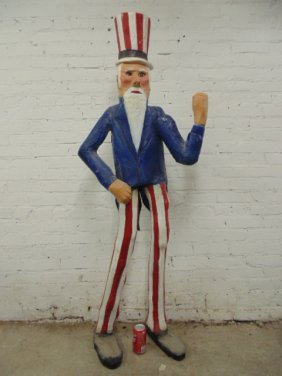 Carved Wood & Paint Decorated Uncle Sam