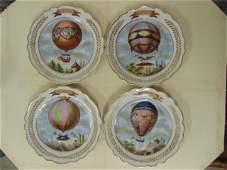 4 porcelain plates 18th Century balloon scenes P