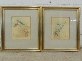 Pair Asian Watercolors On Silk,