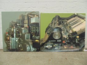 "Two Oils, ""heidelberg Printing Press"", Signed Chris"