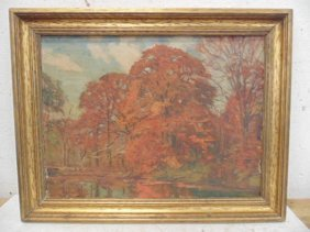 Oil Canvas, Fall Landscape, Aldro Hibbard
