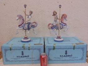 Lladro Boy & Girl On Carousel Horse