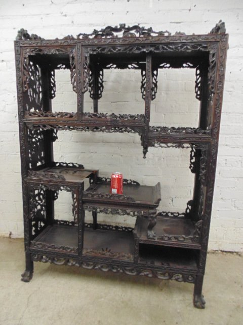 Carved Chinese etagere