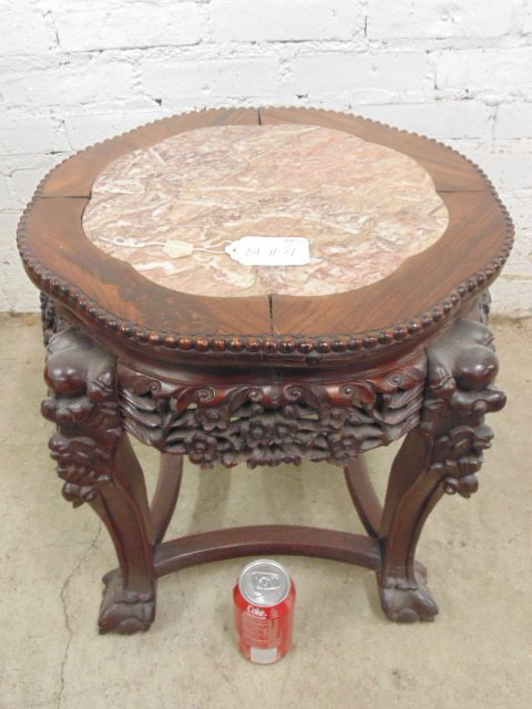 Chinese carved marble top plant stand