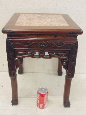 Carved Chinese marble top plant stand
