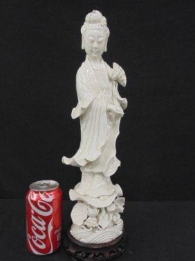 Blanc de Chin figure Asian woman with flower