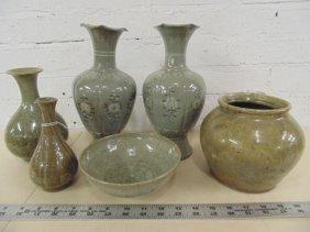 Lot 6 Asian glazed pottery / stoneware vases