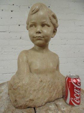 Carved marble bust of a boy,  Max Blondat