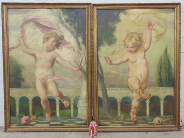 Pair paintings, appear 18th Century, dancing putty's