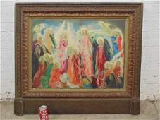 Painting, angels, figures, signed Luis Garcia Ochoa