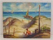 Painting, beach scene, Gustavo Cenci