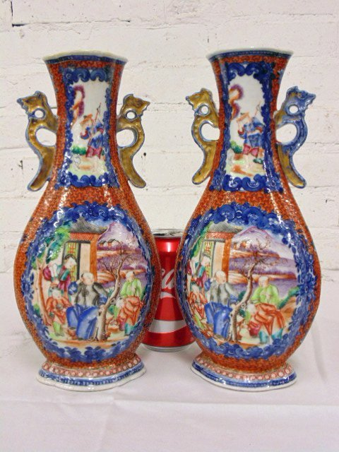Pair Chinese vases decorated with various scenes