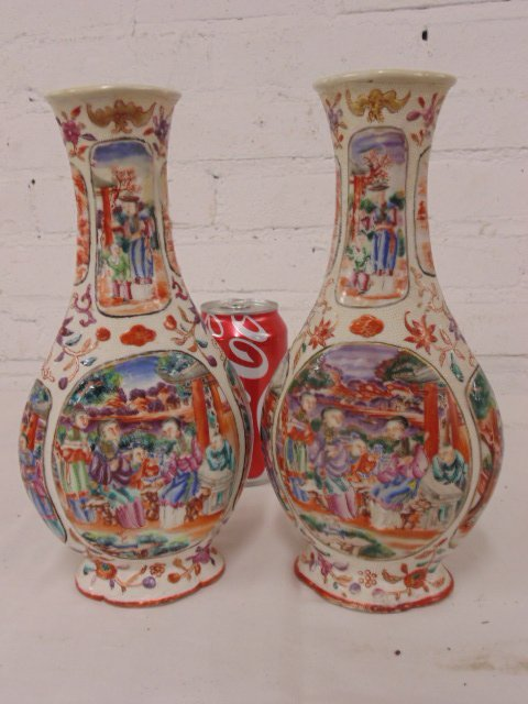 Pair Chinese vases Rose Medallion