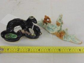 """2 ceramic figures, """"kang Hsi"""", E & J Frankel Collection"""