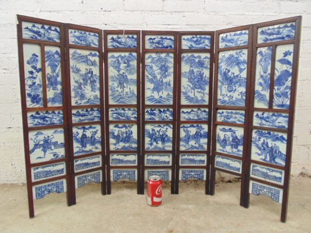 7 panel blue & white tile Chinese Canton table screen