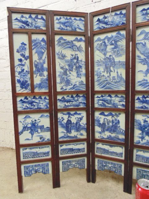 7 panel blue & white tile Chinese Canton table screen - 2
