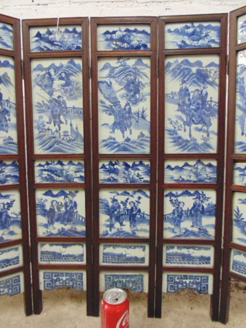 7 panel blue & white tile Chinese Canton table screen - 3