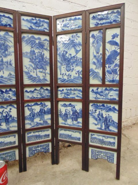 7 panel blue & white tile Chinese Canton table screen - 4