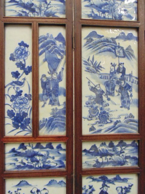 7 panel blue & white tile Chinese Canton table screen - 5