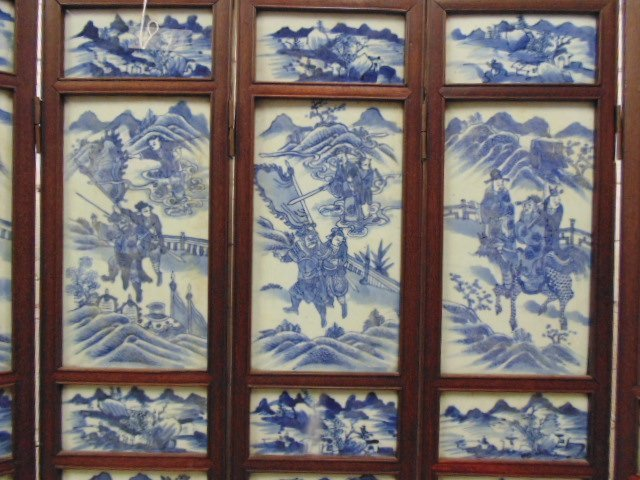 7 panel blue & white tile Chinese Canton table screen - 6