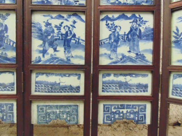 7 panel blue & white tile Chinese Canton table screen - 8