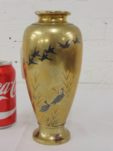 Asian mixed metal vase, brass with inlaid birds