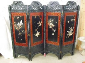 4 panel Chinese lacquered screen