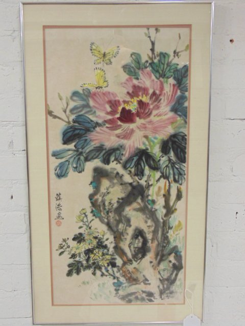 Chinese watercolor with flowers
