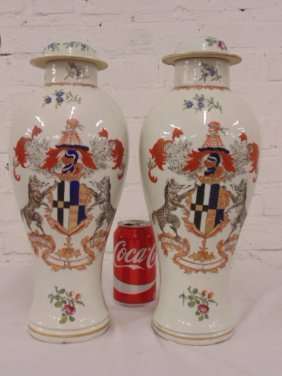 Pair Chinese export porcelain urn vases