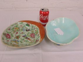 Two Chinese bowls, butterflies