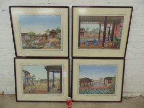 Lot 4 Chinese watercolors, temple scenes