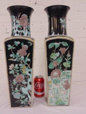 Pair square Japanese porcelain vases