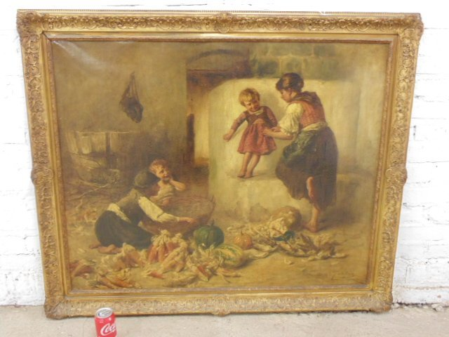 Painting, 3 children and young mother , Peske Geza