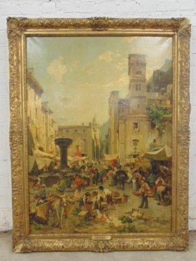 Painting, village market scene, Fr. Aerni