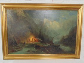 """Painting, figures by campfire, signed """"C.H.M."""","""
