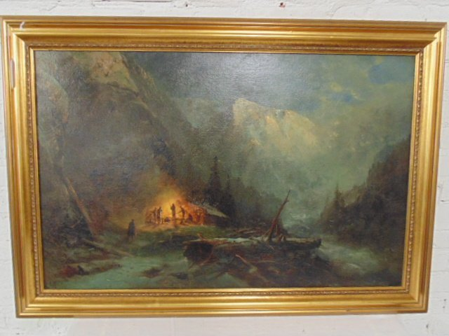 "Painting, figures by campfire, signed ""C.H.M."","
