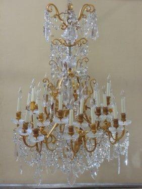 Impressive brass & crystal estate chandelier