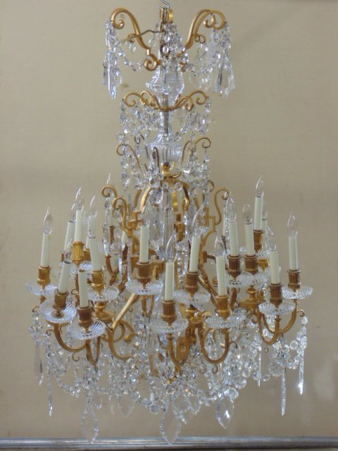 Impressive brass & crystal estate chandelier
