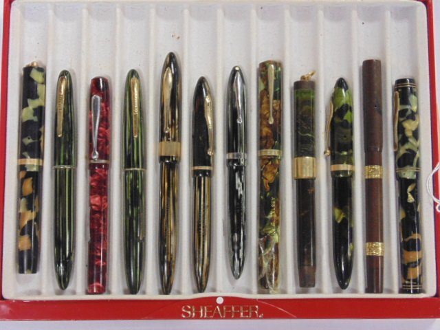 Lot 12 vintage fountain pens, Sheaffer, Brown Waterman