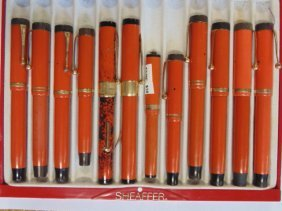Lot of 12 vintage fountain pens, Parker (Duofold),