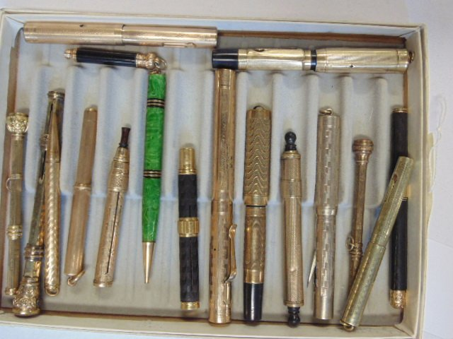 Lot of 17 gold filled & gold pencils & fountain pen,