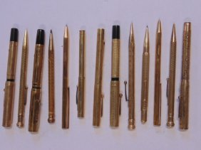 Lot of 13 pens & pencils including Eclipse, Waterman's,