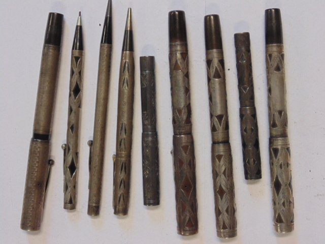 Lot of 9 sterling & silver overlay pens & fountain pens