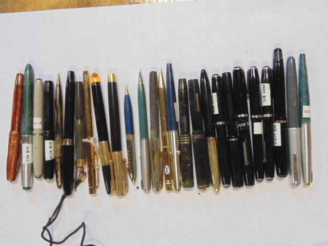 Lot of 26 pens,  Parker, Esterbrook, Moore, Waterman's
